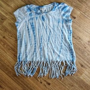 Jessica Simpson tie-dye crop top with fringe